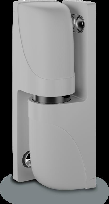 Eckscharnier VARIOFLEX Zink-Druckguss, EPS beschichtet grau RAL 7038, rechts und links verwendbar, steigend, 3D-einstellbar, für Türen ab 49 mm Überschlag, aushängbar, rastbar bei ca. 118°, inklusive 2 Abdeckkappen, Öffnungswinkel 180°, ohne Zubehör