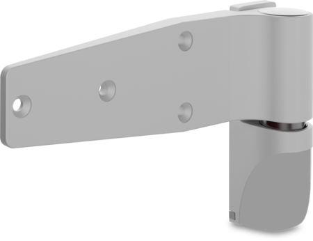 Lappenscharnier VARIOFLEX Zink-Druckguss, EPS beschichtet grau RAL 7038, rechts und links verwendbar, steigend, 2D-einstellbar, für bündige Türen, aushängbar, rastbar bei ca. 118°, inklusive 2 Abdeckkappen, Öffnungswinkel 180°, ohne Zubehör