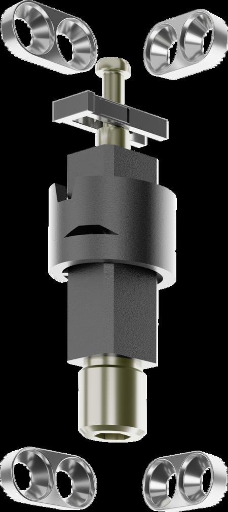 Zubehör VARIOFLEX Eckscharnier steigend rechts und links verwendbar, bestehend aus: 1 x Sicherung 4 x Anschraubplatte 1 x Steigerhülse 1 x Steigerstück 1 x Scharnierstift komplett