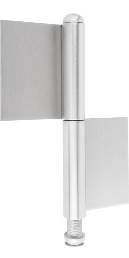 Konstruktionsband 2 Tlg. Edelstahl 1.4301 V2A matt gebürstet, loser Rundkopfstift 12 mm inklusive Rundkopf 1.4301 160 x 50 x 80 x 3 mm, DIN links / rechts verwendbar