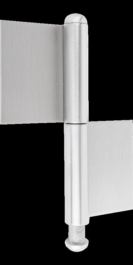 Konstruktionsband 2 Tlg. Edelstahl 1.4301 V2A matt gebürstet, loser Rundkopfstift 12 mm inklusive Rundkopf 1.4301 140 x 50 x 70 x 3 mm, DIN links / rechts verwendbar