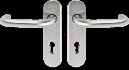 FS-Drückergarnitur 9 mm PZ- gelocht, Entfernung 72 mm Edelstahl, ohne Zubehör