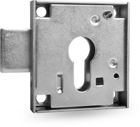 Kastenriegelschloss PZ, Dornmaß 30 mm, Riegelauschluss 19,5mm (zurückgeschlossen 9,5 mm vorstehend), einfacher Abzug, rechts