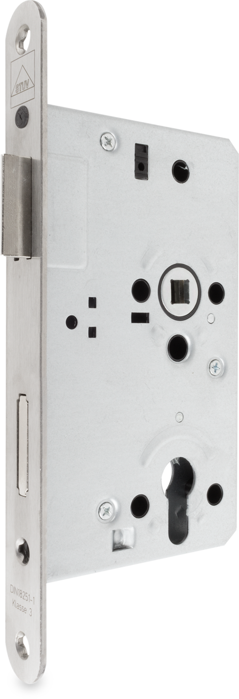Einsteckschloß für Betriebsraumtüren, rechts und links verwendbar, Stahl verzinkt, PZ vorgerichtet, mit Wechsel, 65 mm Dorn, 72 mm Entfernung, 9 mm Nuss, Stulp Edelstahl 24 x 235 mm