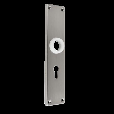 Langschild Edelstahl, gebürstet, rechts und links verwendbar, mit PZ-Lochung, Entfernung 60 mm