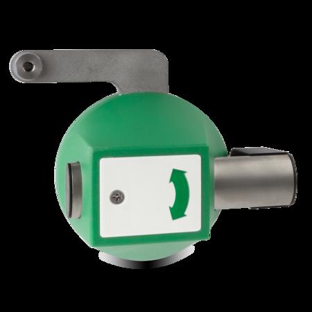 Vorreiber für Mehrpunktverschlüsse Gehäuse Kunststoff, verkehrsgrün ähnl. RAL 6024, rechts und links verwendbar, seitlich schließend, mit Stangenhalterung, Rohr mit Distanzstück