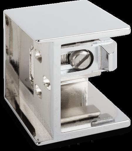 Schließkloben Zink-Druckguss, verchromt, rechts und links verwendbar, Überschlag 28 - 32 mm, Innenkloben 6 mm einstellbar