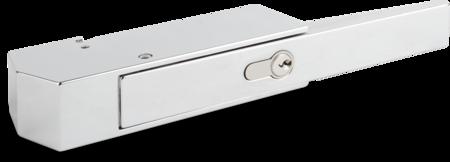 Verschluss für Kühl- und Tiefkühlraumtüren Zink-Druckguss, verchromt, rechts und links verwendbar, mit Profil-Zylinder und 3 Schlüsseln, verschiedenschließend