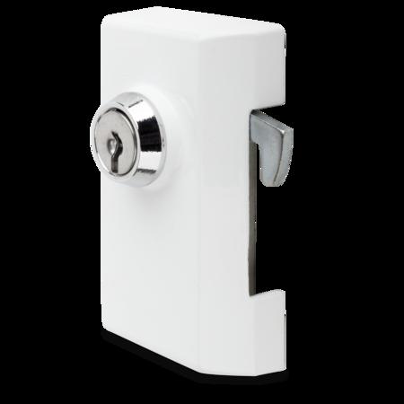 Schließvorrichtung Aluminium, EPS beschichtet weiss RAL 9016, rechts, mit Zylinder, mit 2 Schlüssel, verschiedenschließend