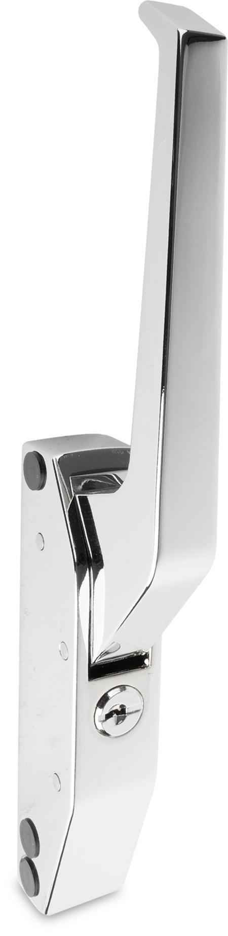 Türverschluss Zink-Druckguss, verchromt, rechts und links verwendbar, Hebel gekröpft, mit Zylinder, mit 2 Schlüsseln, Einheitsschließung E004, seitliche Montage