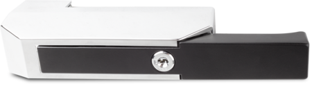 Verschluss Zink-Druckguss, EPS beschichtet schwarz RAL 9005, rechts und links verwendbar, mit Zylinder, mit 2 Schlüsseln, verschiedenschließend, aufliegende Montage, mit verchromter Abdeckkappe