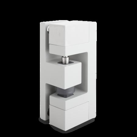 Eckscharnier Zink-Druckguss, EPS beschichtet grau RAL 7038, rechts, steigend, 3D-einstellbar, für Türen ab 49 mm Überschlag, inklusive 2 Abdeckkappen