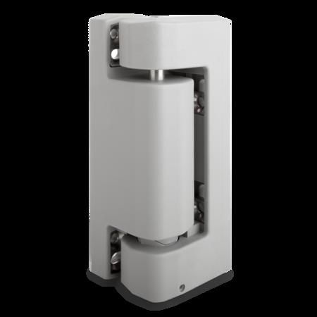 Eckscharnier Durethan, grau ähnl. RAL 7037, rechts und links verwendbar, steigend, für Türen ab 60 mm Überschlag