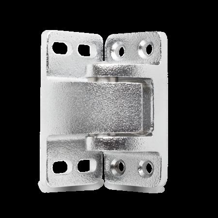 Eckscharnier Messing, verchromt, rechts und links verwendbar, nicht steigend, für Türen ab 37 mm Überschlag, mit Zwischenringen aus Edelstahl